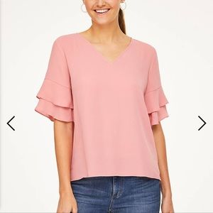 Loft Outlet TIERED BELL SLEEVE TOP Blush Med